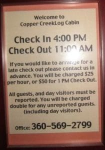 Copper Creek Inn Fees